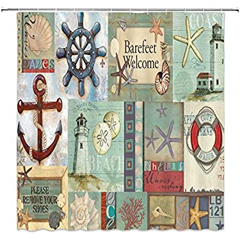 Anchor With Rope in the Rudder Bathroom Fabric Shower Curtain Set 71Inches Long