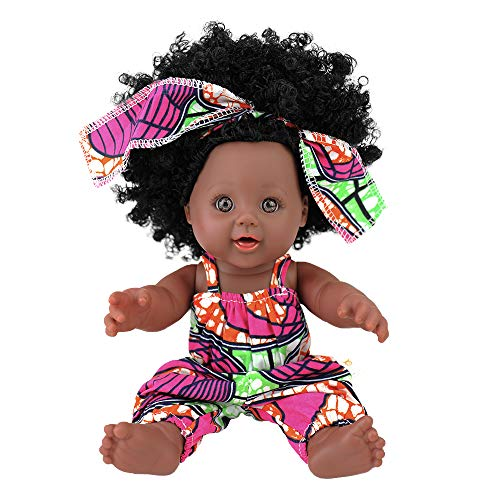 TUSALMO 2019 Newest 12 inch Lifelike Silicone Vinyl Newborn Baby Dolls, African American Baby Black Dolls, give for Kids and Girl Holiday Birthday Gift, African Black Dolls, Reborn Doll.(Pink)