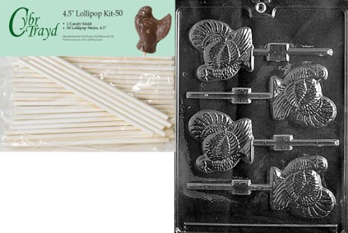 Cybrtrayd 45St50-T010 Turkey Lolly Thanksgiving Chocolate Candy Mold with 50-Pack 4.5-Inch Lollipop Sticks ()
