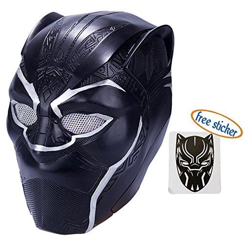 Trippy Lights 2018 Black Panther Movie Superhero Latex Costume Adult Mask Helmet
