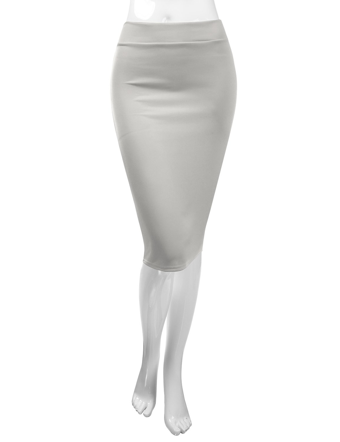 CLOVERY Pencil Skirts Plus Size Casual Skirt Elastic Waist Band Scuba Streychy Solid Color Grey L by CLOVERY (Image #4)