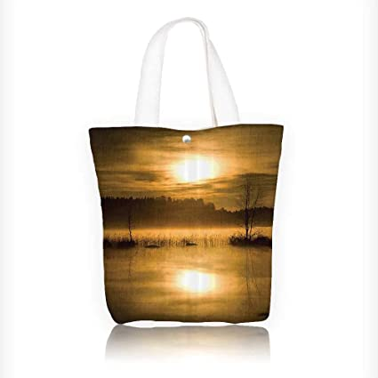 5aa71d431 Canvas Zipper Tote Bag Printed eHazy SunLights over Lake in the Middle of  Foggy Mystical Night