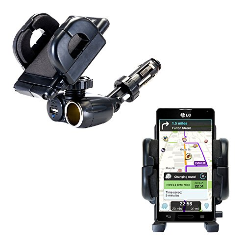 Unique Auto Cigarette Lighter and USB Charger Mounting System Includes Adjustable Holder for the LG Optimus F7
