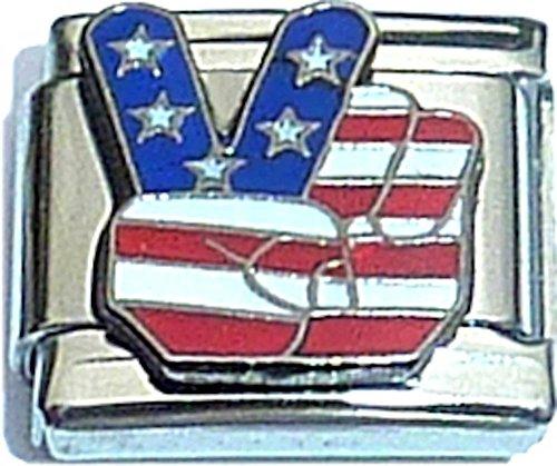 Patrioti Peace Hand Italian Charm