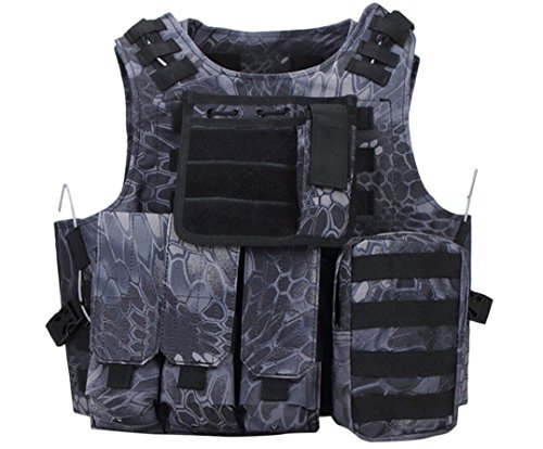 Invenko Trainning Tactical Airsoft Paintball Combat Swat Assault Army Shooting Hunting Outdoor Molle Police Vest (Black Python)