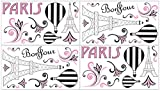 Sweet Jojo Designs 4-Piece Pink, Black and White Paris French Eifell Tower Baby, Childrens and Kids Wall Decal Stickers