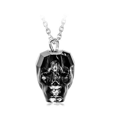 Amazon ladycolour king of rebirth halloween skull heads ladycolour king of rebirth halloween skull heads pendant necklace 925 sterling silver chain swarovski crystals jewelry mozeypictures Images