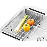 SANNO Dish Rack Over Sink ,Adjustable Arms Holder Utensil Drainer Functional Drying Organizer for Vegetable and Fruit,Kitchen organizer Strainer Dish Drainer,- rustproof stainless steel