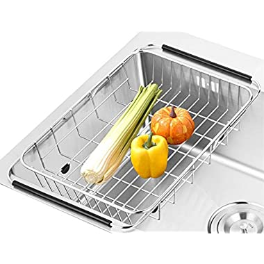 SANNO Dish Rack Over Sink, Adjustable Arms Holder Utensil Drainer Functional Drying Organizer for Vegetable and Fruit, Kitchen organizer Strainer Dish Drainer- rustproof stainless steel