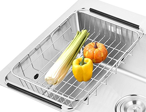 SANNO Dish Rack Over Sink, Adjustable Arms Holder Utensil Drainer Functional Drying Organizer for Vegetable and Fruit, Kitchen organizer Strainer Dish Drainer- rustproof stainless steel (Stoneware Sink)