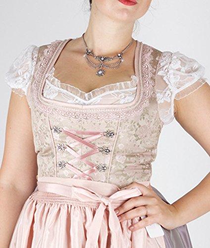 15232 Bergweiss 70er Dirndl taupe rosa