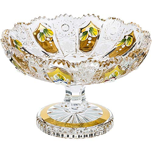 Czech Bohemian Crystal Glass Footed Bowl Dia-6''/15.5cm Hand Cut Hand Decorated Gold Plated Wedding Gift Vintage Lace Design Elegant Centerpiece Desserts Dish Classic Crystal Glass