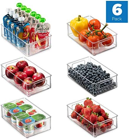 """Set Of 6 Refrigerator Organizer Bins - Stackable Fridge Organizers with Cutout Handles for Freezer, Kitchen, Countertops, Cabinets - Clear Plastic Pantry Food Storage Rack    Keep your refrigerator, freezer, countertops, kitchen cabinet or pantry neatly organized with these stackable fridge organizer pantry storage bins. Ideal sized to fit fruits, vegetables yogurts, canned goods, food packets, cheese, meat, also good for storing dry goods in the pantry. Ideal for kitchens, countertops, pantry shelves, refrigerators, freezers, cabinets, or as drawer organizers. Practical Stackable design to help maximize your space. Stack or use them side by side to keep items organized and easy to find. Each bin measures Approx. 10"""" L × 6"""" W × 3"""" H. Great for closets, bedrooms, bathrooms, laundry rooms, craft rooms, mudrooms, offices, play rooms, garages, or any room of your home / apartment / condo / dorm room / RV or camper. Made of durable high quality 100% food safe BPA Free shatter-resistant plastic Designed with practical carry handles and interior non slip texture, clean with warm soapy water. Do not place in dishwasher"""
