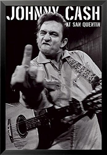Amazon.com: Buyartforless FRAMED Johnny Cash (Middle Finger) At San ...