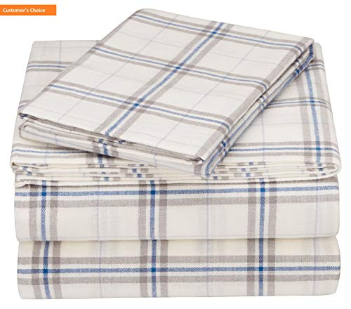 (Mikash New Soft Pinzon 160 Gram Plaid Flannel Sheet Set - Twin XL, Cream/Blue Stripe Plaid - PZ-PLFLAN-CB-TNXL | Style 84597707 )
