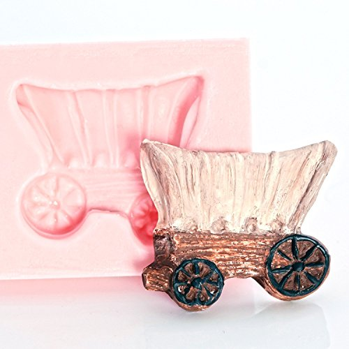 Covered Wagon Silicone Mold Easy to use with Chocolate, Fondant, Candy, Resin, Polymer Clay, Metal Clay. Jewelry, Craft, Food Safe Mold.