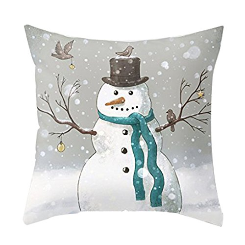 Aremazing Christmas Snowman & Let It Snow Super Soft Cotton Linen Throw Pillow Case Cushion Cover Home Office Decorative 18 X 18 Inches (Christmas Snowman)
