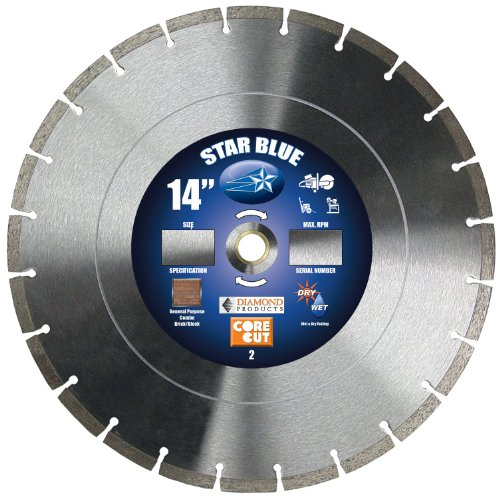 e Cut 70520 14-Inch by 0.125 by 1-Inch Star Blue Dry or Wet Masonry Blade (Diamond Products Core)
