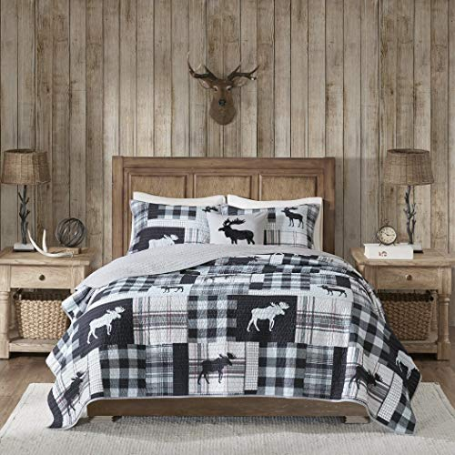 - 4 Piece Black Animal Print Plaid Pattern Quilt Full Queen Set, Grey White Lodge Glen Check Checkered Moose Motif Squared Pattern, Reversible Cabin Adult Bedding Master Bedroom, Polyester