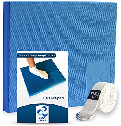 XL or L Foam Balance Pad – FREE Stretching Strap BONUS eBook Extra Large Balance Pads for Physical Therapy Rehab Ankle Recovery, Lower Back Knee Pain X Large Wobble Board Cushion for Strength
