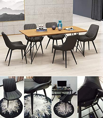 Décorations pour la Maison - Chaises de Bureau/sièges en Similicuir Noir - Ergonomique au Dos - Pied en métal