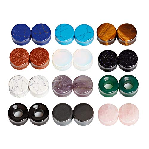 TBOSEN 24 pcs Mixed Stone Ear Plugs Tunnels Double Flare Saddle Stretching Gauges Expander Body Piercing Set Gauge 2g - 5/8 inch