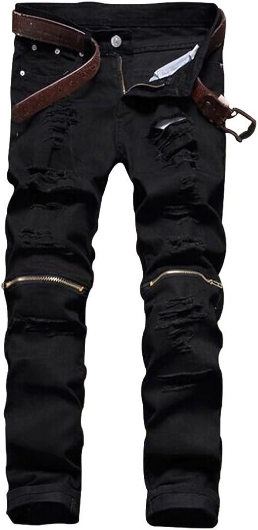 Mens slim fit motorcycle casual pants straight pencil black zip rock trousers sz