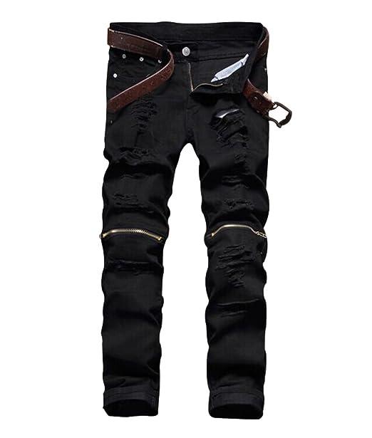 Mens Slim Fit Pencil Pants Vintage Zipper Denim Distressed Stretch Ripped Jeans