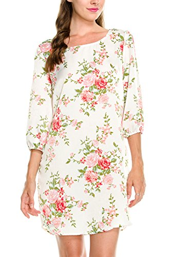 KLKD A168 Women's Printed Round Neck Bishop 3/4 Sleeve Shift Dress Made in U.S.A. Ivory Flower 2 Small