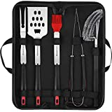 Homemaxs BBQ Tools Set-5pcs BBQ Grilling Tool Set with Case for Men, Stainless Steel Heavy Duty Barbecue Grilling Accessories Utensils Kit with Tong, Grill Cleaning Brush, Spatula, Fork, Basting Brush