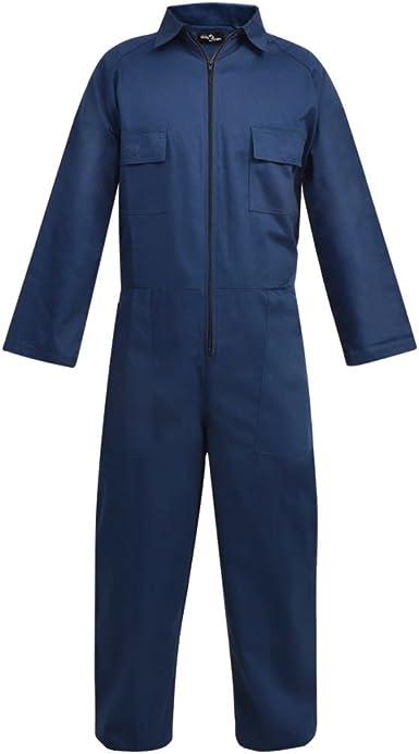 Vidaxl Mono De Trabajo Hombre Comodo Resistente Con Bolsillos Talla M Xxl Color Azul Gris Amazon Es Ropa Y Accesorios