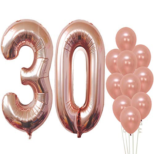 Rose Gold 30 Balloon Numbers, Large, Pack of 12 | Rose Gold 30th Birthday Balloons Party Decorations Supplies | Foil Mylar and Latex Balloon | Match for Other Number Balloons for All Ages