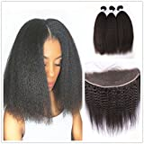 "Moresoo 7a 3 Bundles Kinky Straight Virgin Brazilian Remy Human Hair Weft with 1 Piece Ear to Ear 13x4 Lace Frontal Closure with Baby Hair Bleach Knots Natural Color 18""20""22""Hair+16"" Closure"