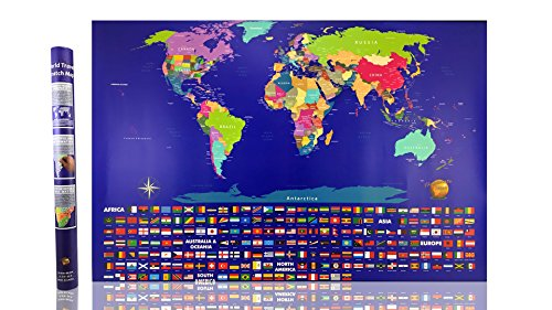 (Illuminate AtlasTM - #1 Scratch Off World Map - Perfect for Traveler Men and Women - Best 23x32 Large Poster Wall Map Atlas - US States and Adventure Travel Flags - Limited Edition)