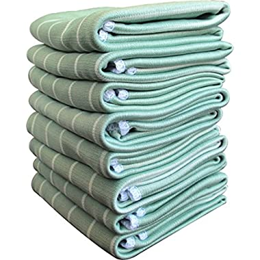 Gryeer Super Absorbent, Quick-drying, Big-size Dish Cloths | Anti-bacterial, Lint-free, No Shrink Microfiber and Bamboo Kitchen Tea Towels, 19x15 Inch, Set of 5 - Green