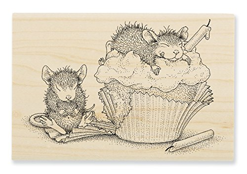 STAMPENDOUS House Mouse Wood Stamp, Cupcake Happy