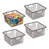 mDesign Metal Wire Toy Box Storage Organizer Basket Bin Tote with Handles for Child/Kids Bedroom, Toy Room, Playroom Shelves - Holds Action Figures, Crayons, Blocks, Puzzles, Crafts - 4 Pack - Bronze