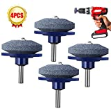 YAYOSUE Lawn Mower Blade Sharpener, Lawn Mower Blade Balancer,Grinder Wheel Stone, Tool for Any Power Drill Hand Drill, for Garden, Courtyard, Kitchen 4 Pack