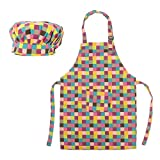 (Price/2 Sets) Opromo Colorful Cotton Canvas Kids Aprons and Hat Set, Party Favors(S-XXL)-Grid-M