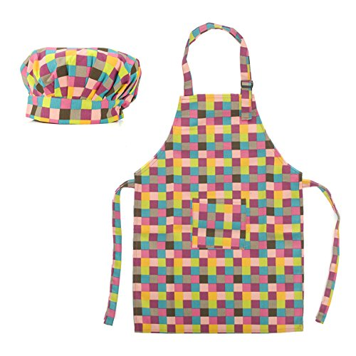 (Price/2 Sets) Opromo Colorful Cotton Canvas Kids Aprons and Hat Set, Party Favors(S-XXL)-Grid-M by Opromo