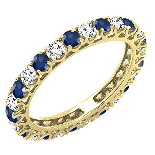 Dazzlingrock Collection 14K White Diamond & Blue Sapphire Eternity Wedding Anniversary Stackable Band, Yellow Gold, Size 9 (Sapphire And Diamond Eternity Band Yellow Gold)