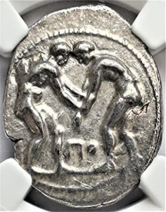 GR 380-325 BC Ancient Greece Wrestlers and Slinger Antique Greek Silver Coin AR Stater Extremely Fine NGC
