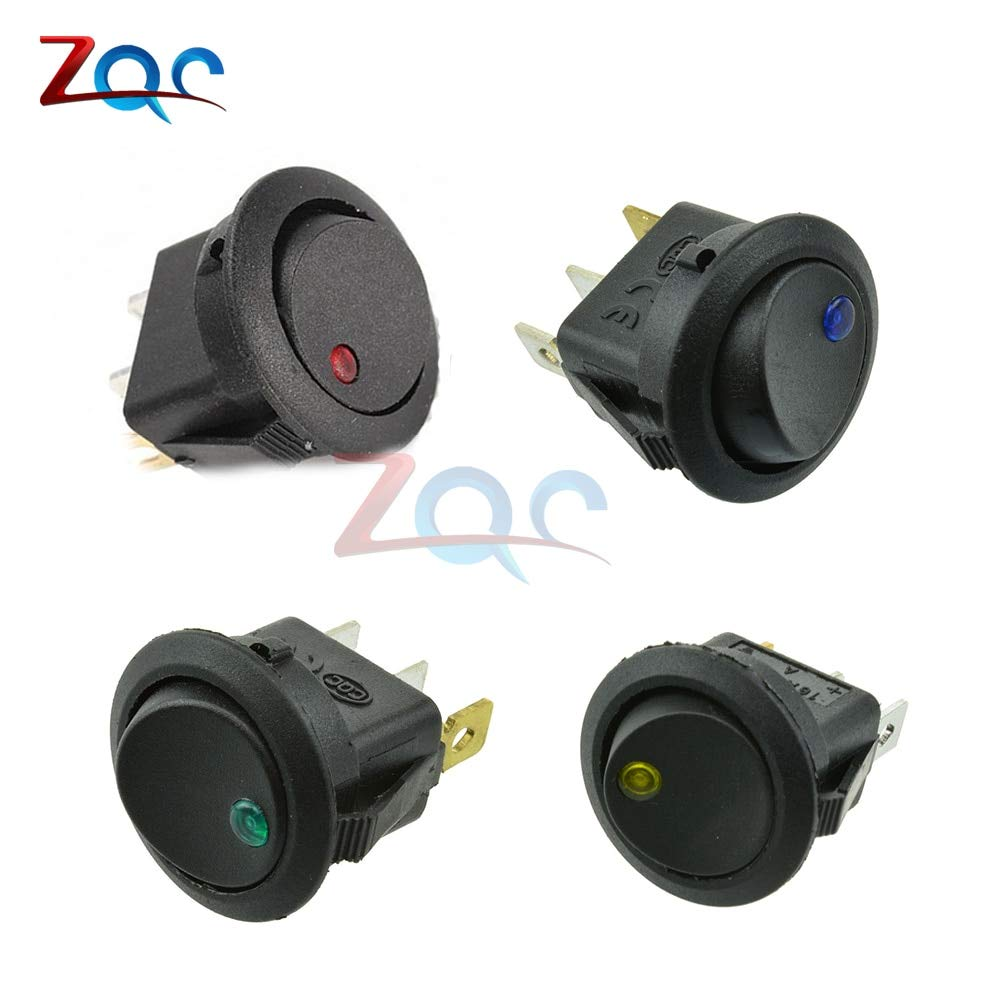 Switch Rocker Switches ON//OFF 4 Colors Car Boat Round LED Dot Light SPST Toggle
