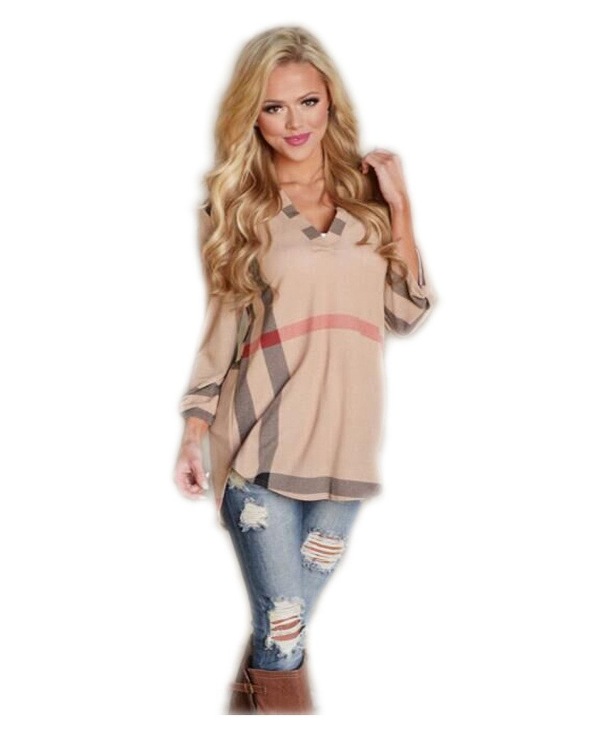 Mansy Women's Casual 2/3 Sleeve V-Neck Plaid shirts Pullover Top,Brown,Large
