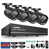 SANNCE 4-Channel HD 1080N Home Security System DVR and (4) 1.0MP Indoor/Outdoor Weatherproof Bullet Cameras with IR Night Vision LEDs, Remote Access - NO HDD