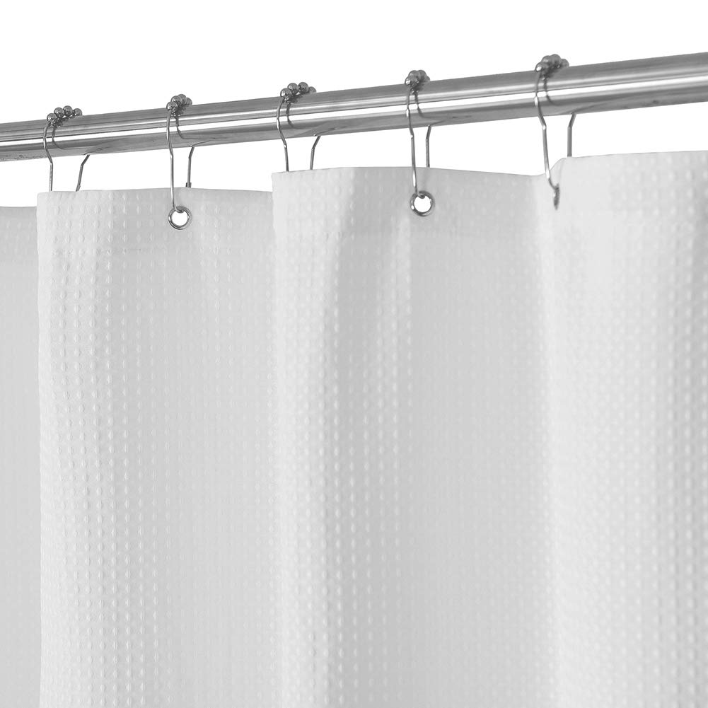 Waffle Weave Fabric Shower Curtain 230 GSM Heavy Duty, Spa, Hotel Luxury, Water Repellent, White Pique Pattern, 71 x 72 Inches Decorative Bathroom Curtain by Barossa Design
