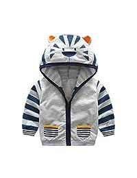 Sumen Baby Boy Girl Hooded Zipper Coat Cartoon Animal Tiger Fox Tops Clothes