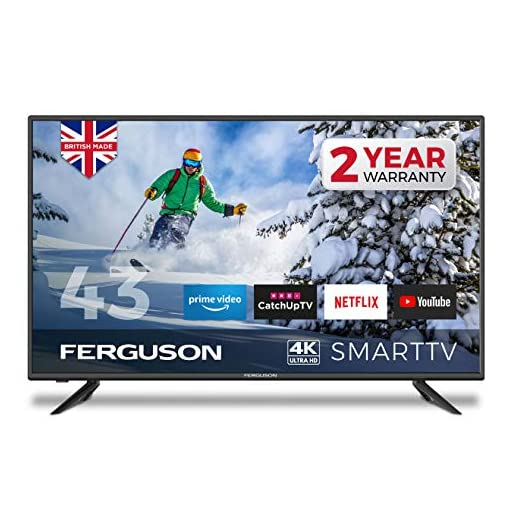 Ferguson F43RTS4K 43 inch Smart 4K Ultra HD LED TV with streaming apps and catch up TV built-in | Made in the UK