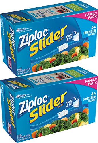 Ziploc Slider Stand & Fill Freezer Bags, Quart, 128 Count