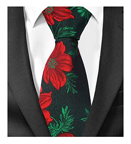 - Mens Red Floral Motif Green Leaves Woven Silk Tie Evening Necktie Special Events